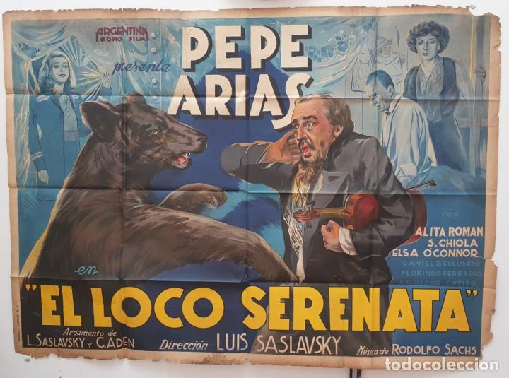 LOCO SERENATA PEPE ARIAS ALITA ROMAN ELSA O CONNOR LUIS SASLAVSKY DOBLE CARTEL ORIGINAL ARGENTINO (Cine - Posters y Carteles - Clasico Español)