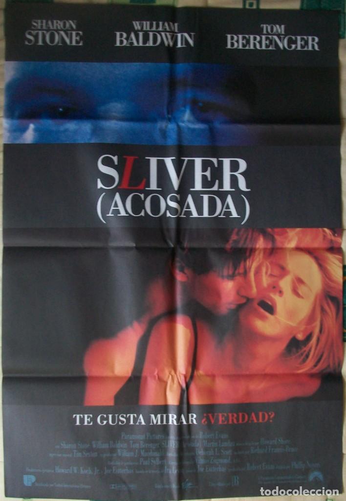 CARTEL ORIGINAL DE LA PELÍCULA SLIVER (ACOSADA). CON SHARON STONE (Cine - Posters y Carteles - Suspense)