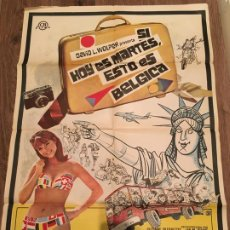 Cine: CARTEL DE CINE DEL ESTRENO DE LA PELÍCULA SI HOY ES MARTES, ESTO ES BÉLGICA (1969). Lote 187542167