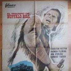Cine: CARTEL CINE EL TRIUNFO DE BUFFALO BILL CHARLTON HESTON RHONDA FLEMING MCP 1964 C1732. Lote 187596832