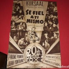 Cine: POSTER SE FIEL A TI MISMO CON TYRONE POWER. PUBLICIDAD. AÑO 1942. UNICO EN TODOCOLECCIÓN. Lote 189217717