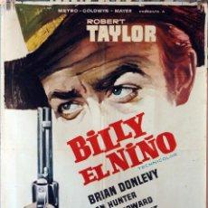Cine: BILLY EL NIÑO. ROBERT TAYLOR. CARTEL ORIGINAL 1963. 1X70. Lote 189256666