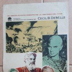 Cine: LOS DIEZ MANDAMIENTOS, CARTEL TAMAÑO MEDIO 55X25 CMTS. Lote 190483638