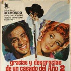 Cine: GRACIAS Y DESGRACIAS DE UN CASADO DEL AÑO 2. JEAN PAUL BELMONDO. CARTEL ORIGINAL 1971. 70X100. Lote 190574203