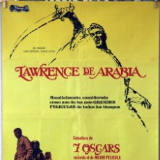 Cine: LAWRENCE DE ARABIA. DAVID LEAN-PETER O´TOOLE-ALEC GUINNESS-OMAR SHARIF. CARTEL ORIGINAL 1975. 70X100. Lote 190591476