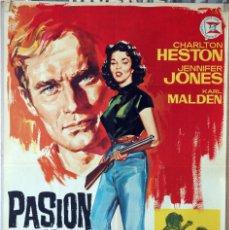Cine: PASIÓN BAJO LA NIEBLA. CHARLTON HESTON-JENNIFER JONES-KING VIDOR. CARTEL ORIGINAL 1964 70X100. Lote 190592153