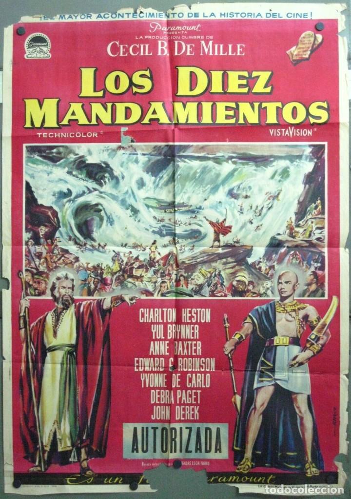VP10D LOS DIEZ MANDAMIENTOS CHARLTON HESTON DEMILLE BRYNNER ALBERICIO POSTER ORIGINAL 70X100 ESTRENO (Cine - Posters y Carteles - Aventura)
