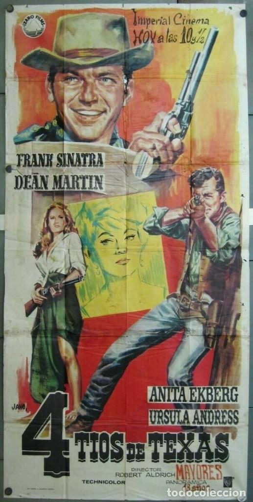 WD15D 4 TIOS DE TEXAS FRANK SINATRA DEAN MARTIN URSULA ANDRESS POSTER ORIG 3 HOJAS 100X205 ESTRENO (Cine - Posters y Carteles - Westerns)