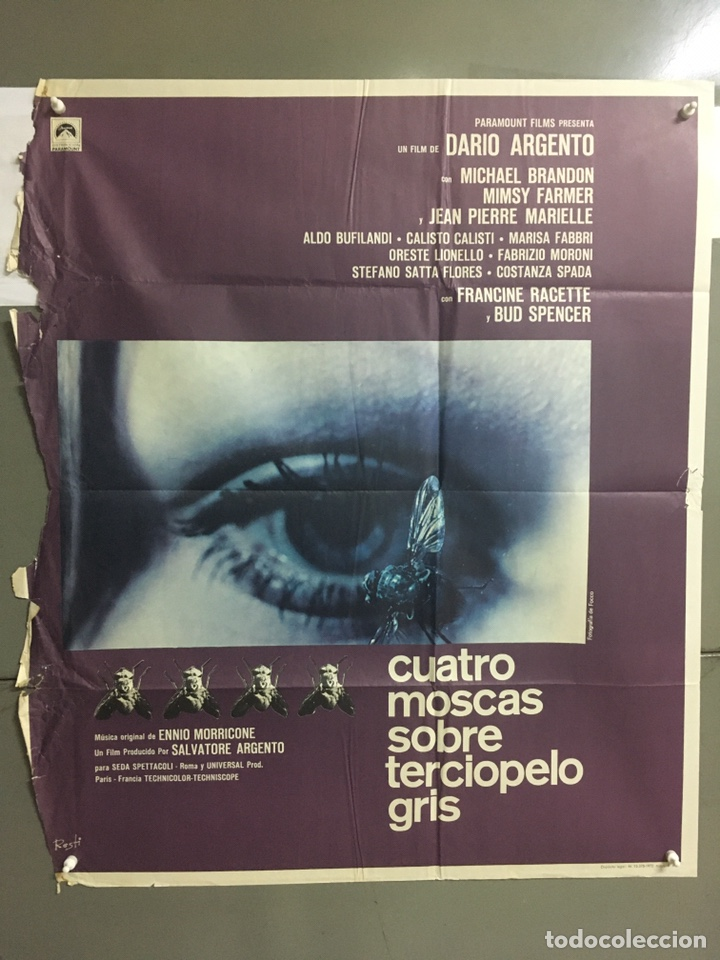 AAB93 CUATRO MOSCAS SOBRE TERCIOPELO GRIS DARIO ARGENTO BUD SPENCER POSTER ORIGINAL 70X80 ESTRENO (Cine - Posters y Carteles - Terror)
