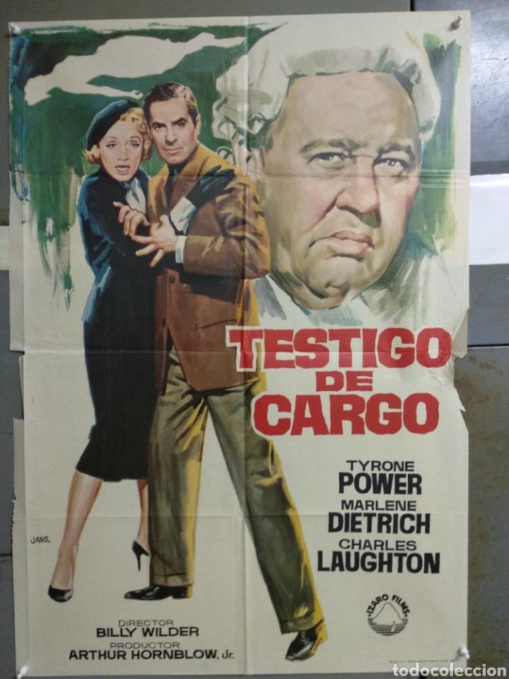 AAC09 TESTIGO DE CARGO TYRONE POWER MARLENE DIETRICH AGATHA CHRISTIE POSTER ORIGINAL 70X100 (Cine - Posters y Carteles - Suspense)