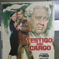 Cine: AAC09 TESTIGO DE CARGO TYRONE POWER MARLENE DIETRICH AGATHA CHRISTIE POSTER ORIGINAL 70X100. Lote 190994968