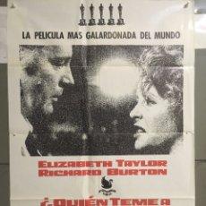 Cine: AAC16 QUIEN TEME A VIRGINIA WOOLF ELIZABETH TAYLOR RICHARD BURTON POSTER ORIGINAL 70X100 DE ESTRENO. Lote 191079160