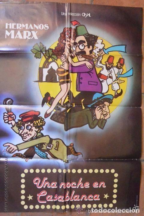 CARTEL POSTER CINE UNA NOCHE EN CASABLANCA HERMANOS MARX (Cine - Posters y Carteles - Comedia)