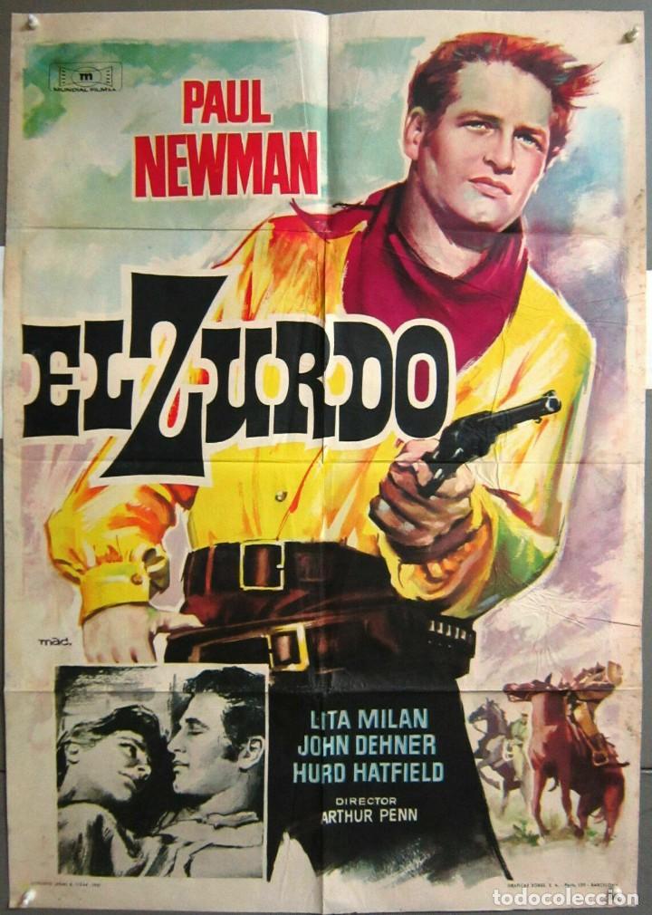 ZD98D EL ZURDO PAUL NEWMAN MAC POSTER ORIGINAL ESTRENO 70X100 (Cine - Posters y Carteles - Westerns)