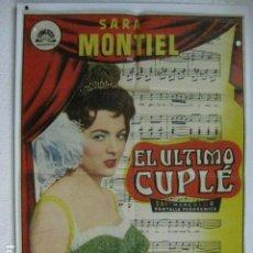 Cine: EL ULTIMO CUPLE - POSTER CARTEL ORIGINAL - SARA MONTIEL JUAN DE ORDUÑA ARMANDO CALVO. Lote 191881520