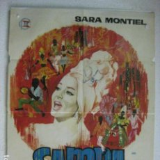 Cine: SAMBA - POSTER CARTEL ORIGINAL - SARA MONTIEL RAFAEL GIL MARC MICHEL FOSCO GIACHETTI JANO. Lote 191883112