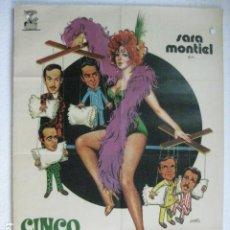 Cine: CINCO ALMOHADAS PARA UNA NOCHE - POSTER CARTEL ORIGINAL - SARA MONTIEL MANUEL ZARZO. Lote 191883486