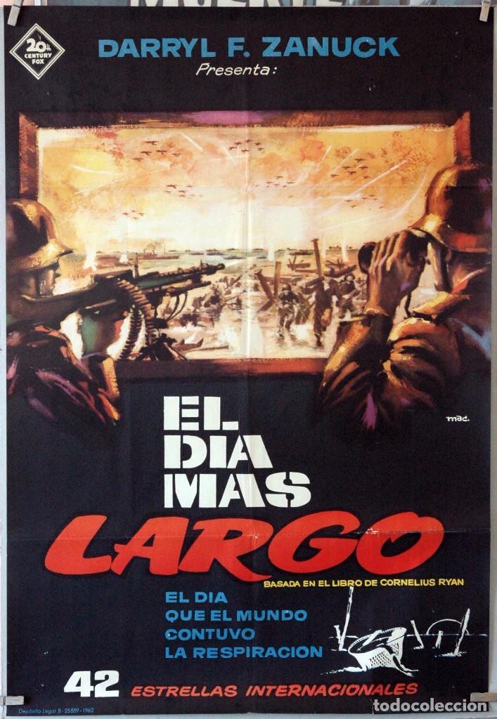 EL DÍA MÁS LARGO. CARTEL ORIGINAL 1962. 70X100 (Cine - Posters y Carteles - Bélicas)