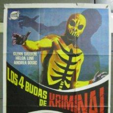 Cine: AAD84 LOS 4 BUDAS DE KRIMINAL GLENN SAXON FERNANDO CERCHIO JANO POSTER ORIGINAL 70X100 DEL ESTRENO. Lote 192170973