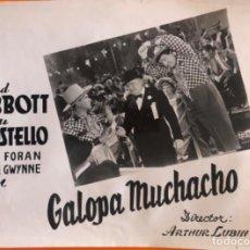 Cine: CINE- CARTEL FOTOGRAFICO- GALOPA MUCHACHO- ABBOT- COSTELLO- 40 X 30 CA 1.940.... Lote 192557925