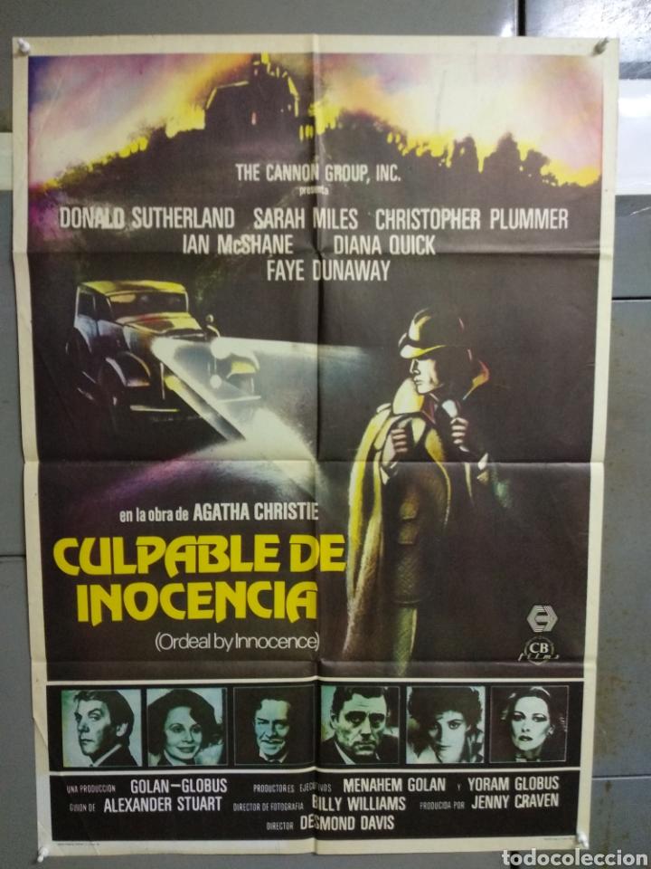 CDO 017 CULPABLE DE INOCENCIA AGATHA CHRISTIE DONALD SUTHERLAND POSTER ORIGINAL ESTRENO 70X100 (Cine - Posters y Carteles - Suspense)