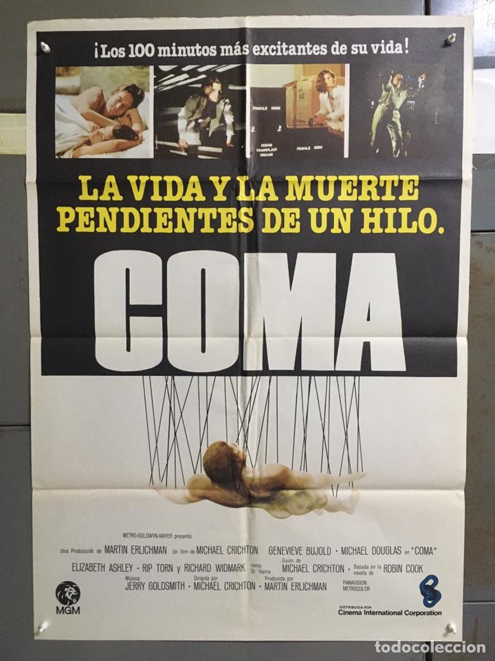 CDO 039 COMA MICHAEL DOUGLAS GENEVIEVE BUJOLD MICHAEL CRICHTON SCI-FI POSTER ORIGINAL 70X100 ESTRENO (Cine - Posters y Carteles - Suspense)