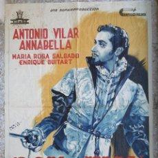 Cine: CARTEL CINE DON JUAN ANTONIO VILAR Y ANNABELLA LITOGRAFIA PERIS ARAGO ORIGINAL, CC1. Lote 192918601