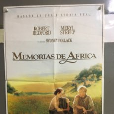 Cine: CDO 080 MEMORIAS DE AFRICA ROBERT REDFORD MERYL STREEP POSTER ORIGINAL 50X70 ESTRENO. Lote 193004725