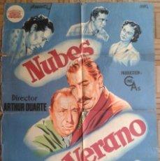 Cine: NUBES DE VERANO. POSTER ESTRENO 70X100CM. M. SANTOS CARVALHO, JOSÉ ISBERT, VIRGILIO TEIXEIRA. Lote 193574380