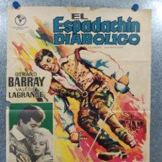 Cine: EL ESPADACHIN DIABOLICO. GERARD BARRAY, VALERIE LAGRANGE . AÑO 1966. POSTER ORIGINAL. Lote 193836242