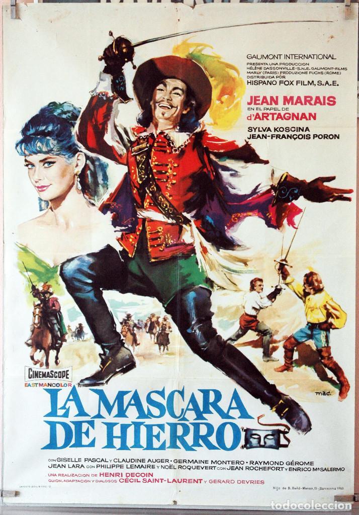 LA MÁSCARA DE HIERRO. JEAN MARAIS. CARTEL ORIGINAL 1963. 70X100 (Cine - Posters y Carteles - Aventura)