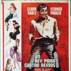 Cine: UN REY PARA CUATRO REINAS. CLARK GABLE-ELEANOR PARKER. CARTEL ORIGINAL 1971. 70X100. Lote 194194336