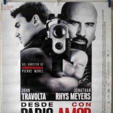 Cine: ORIGINALES DE CINE: DESDE PARÍS CON AMOR (JOHN TRAVOLTA, JONATHAN RHYS MEYERS) 70X100 CMS. EN ROLLO.. Lote 194235925