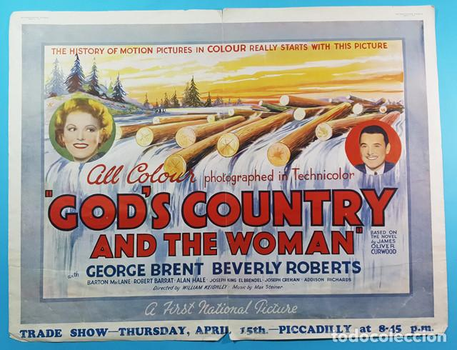 CARTEL POSTER KINEMATOGRAPH WEEKLY DE GODS COUNTRY AND THE WOMAN,GEORGE BRENT Y BEVERLY ROBERTS 1937 (Cine - Posters y Carteles - Comedia)