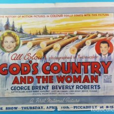 Cine: CARTEL POSTER KINEMATOGRAPH WEEKLY DE GODS COUNTRY AND THE WOMAN,GEORGE BRENT Y BEVERLY ROBERTS 1937. Lote 194301135