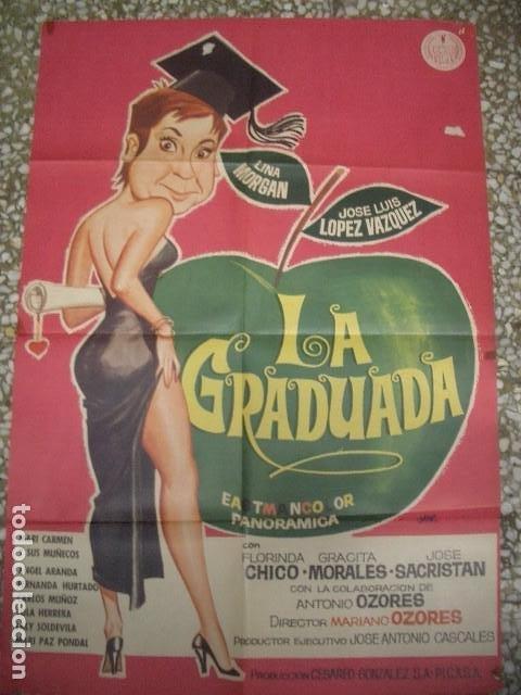 PÓSTER ORIGINAL DE 100X70CM LA GRADUADA CON LINA MORGAN Y SOSE LUIS LÓPEZ VÁZQUEZ (Cine - Posters y Carteles - Clasico Español)