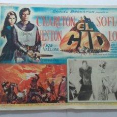 Cine: EL CID,CHARLTON HESTON-SOFIA LOREN LOBBY CARD MEXICO. Lote 194620306