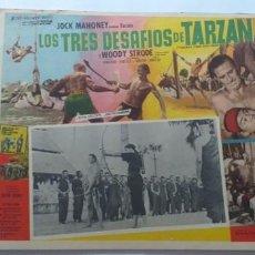 Cine: TARZAN EN PELIGRO(LOS TRES DESAFIOS DE TARZAN) JOCK MAHONEY WOODY STRODE LOBBY CARD MEXICO. Lote 194636902