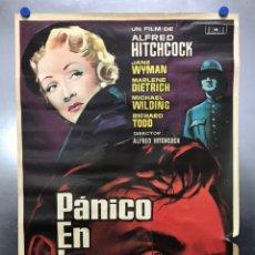 Cine: CARTEL - PANICO EN LA ESCENA - ALFRED HITCHCOCK, MARLENE DIETRICH - AÑO 1961 - MEDIDAS 100X70 CM.. Lote 194674746