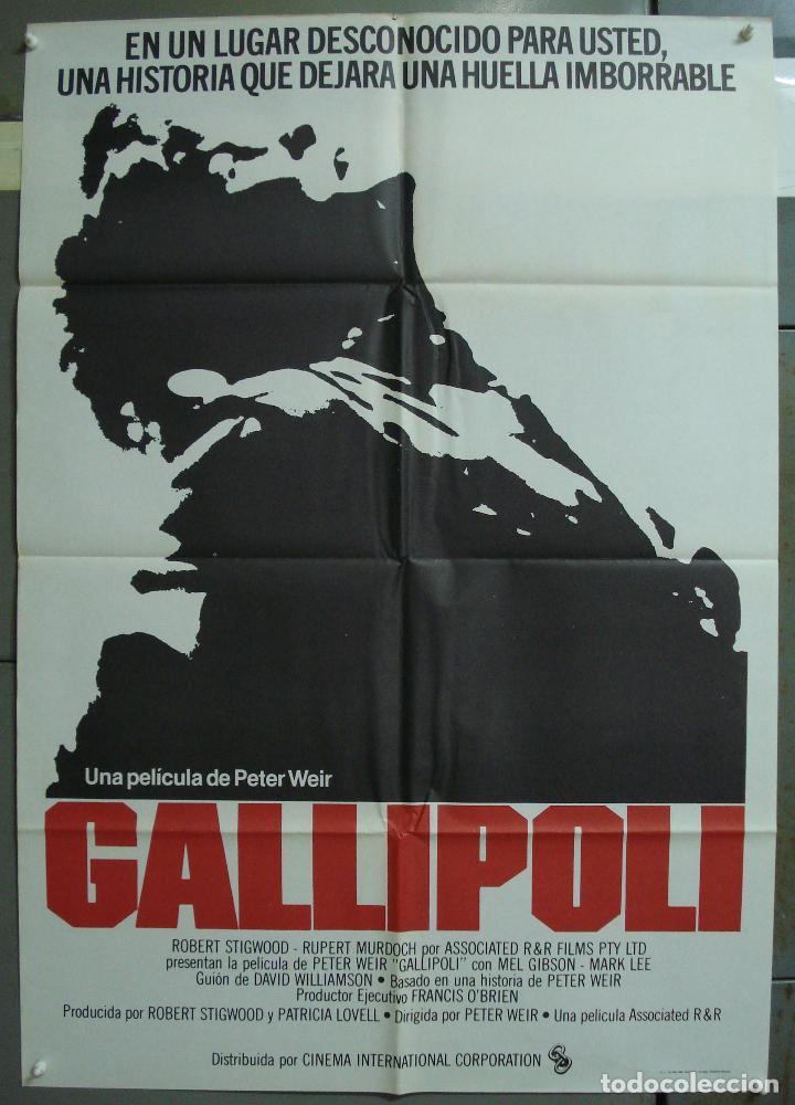 CDO 309 GALLIPOLLI MEL GIBSON PETER WEIR POSTER ORIGINAL 70X100 ESTRENO (Cine - Posters y Carteles - Bélicas)