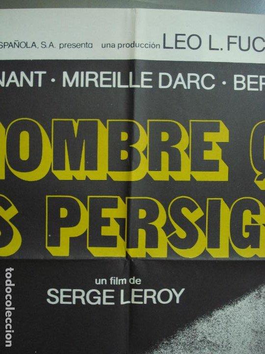 Cine: CDO 339 EL HOMBRE QUE NOS PERSIGUE JEAN-LOUIS TRINTIGNANT POSTER ORIGINAL 70X100 ESTRENO - Foto 2 - 195087257
