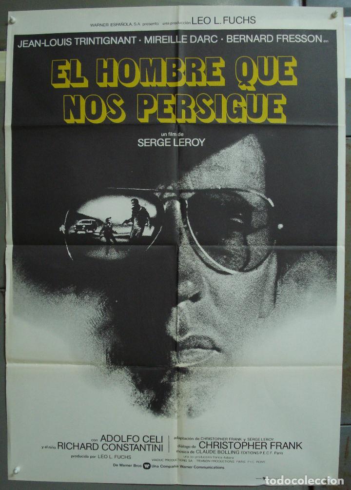 CDO 339 EL HOMBRE QUE NOS PERSIGUE JEAN-LOUIS TRINTIGNANT POSTER ORIGINAL 70X100 ESTRENO (Cine - Posters y Carteles - Suspense)