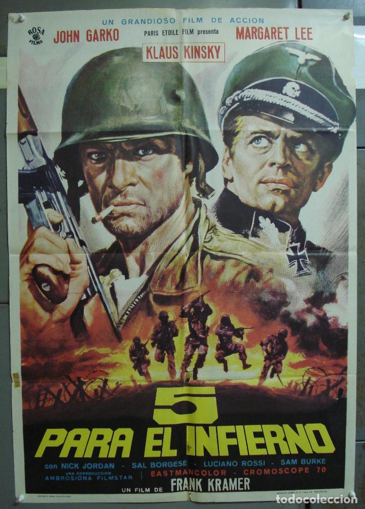 CDO 342 CINCO PARA EL INFIERNO KLAUS KINSKI JOHN GARKO MARGARET LEE POSTER ORIGINAL 70X100 ESTRENO (Cine - Posters y Carteles - Bélicas)
