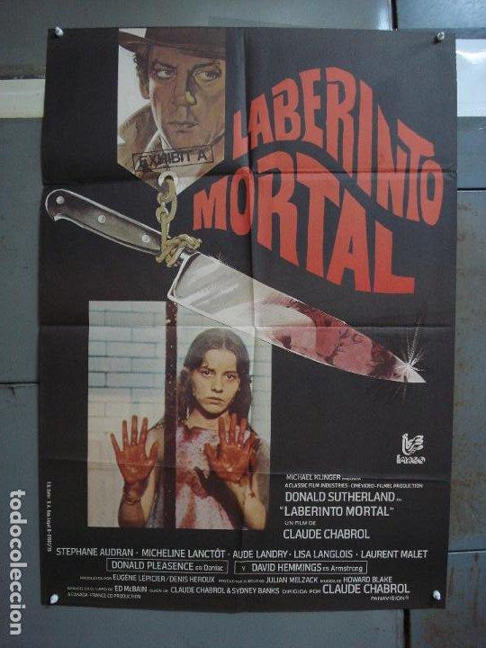 CDO 365 LABERINTO MORTAL DONALD SUTHERLAND CLAUDE CHABROL POSTER ORIGINAL 70X100 ESTRENO (Cine - Posters y Carteles - Suspense)