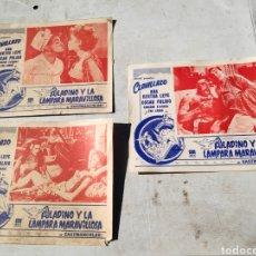 Cine: 3 FOTOGRAMAS CARTEL DE CINE ALADINO Y LA LAMPARA MARAVILLOSA. Lote 195132398