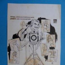 Cine: CLICK FOTOGRAFO DE MODELOS, MAURICIO GARCES - ORIGINAL PINTADO A MANO POR MONTALBAN - AÑO 1976. Lote 195166827