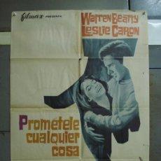 Cine: CDO 385 PROMETELE CUALQUIER COSA WARREN BEATTY LESLIE CARON POSTER ORIGINAL 70X100 ESTRENO. Lote 195184768