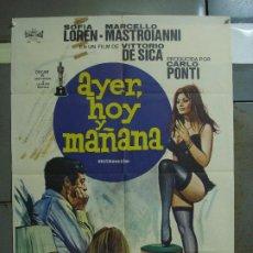 Cine: CDO 401 AYER HOY Y MAÑANA SOFIA LOREN MASTROIANNI DE SICA JANO POSTER ORIGINAL ESTRENO 70X100. Lote 195210382