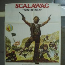 Cine: CDO 413 SCALAWAG PATA DE PALO KIRK DOUGLAS LESTER LESLEY-ANNE DOWN POSTER ORIGINAL 70X100 ESTRENO. Lote 195221302