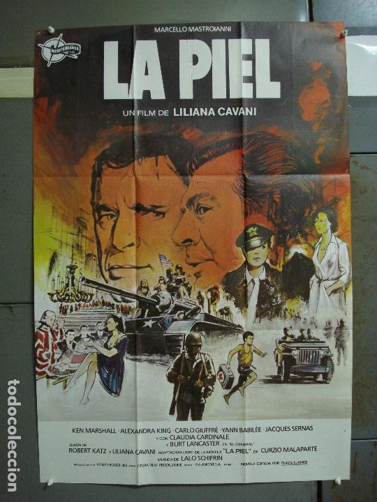 CDO 430 LA PIEL LILIANA CAVANI MASTROIANNI BURT LANCASTER CARDINALE POSTER ORIGINAL 70X100 ESTRENO (Cine - Posters y Carteles - Bélicas)